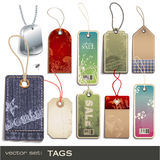 Tags. Set of different tags - 10 items Stock Images