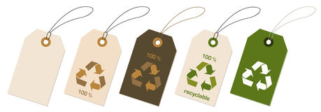 Tags. A illustration of tags with recycable icon royalty free illustration