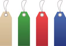 Tags. In tan, green, red and blue on a white background Royalty Free Illustration