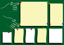 Tags the blackboard. Framing, hands, yellow label paper as recording vector illustration