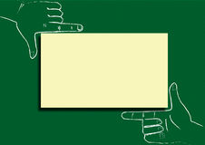 Tags the blackboard. Framing, hands, yellow label paper as recording royalty free illustration