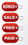 Tags - Bonus, sale,free,paid. On a white background Royalty Free Stock Image