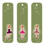 Tags or bookmarks with young girls. Cute green tags or bookmarks with young girls Royalty Free Stock Photo