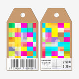 Tags on both sides, cardboard sale labels with barcode. Abstract colorful business background, modern stylish vector Stock Image