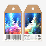 Tags on both sides, cardboard sale labels with barcode. Polygonal design, colorful geometric triangular backgrounds Stock Photos