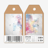 Tags on both sides, cardboard sale labels with barcode. Polygonal design, colorful geometric triangular backgrounds Royalty Free Stock Photo