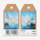 Tags on both sides, cardboard sale labels with barcode. Polygonal design, colorful geometric triangular backgrounds Royalty Free Stock Images