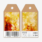 Tags on both sides, cardboard sale labels with barcode. Polygonal design, colorful geometric triangular backgrounds Stock Photography