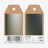 Tags on both sides, cardboard sale labels with barcode. Polygonal design, geometric hexagonal backgrounds Stock Image