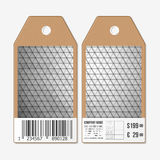 Tags on both sides, cardboard sale labels with barcode. Polygonal design, geometric triangular backgrounds Royalty Free Stock Images