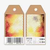Tags on both sides, cardboard sale labels with barcode.  Royalty Free Stock Photo