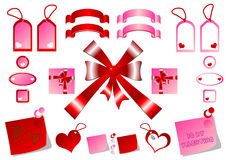 Tags bows and ribbons Royalty Free Stock Image