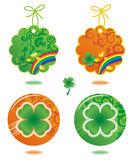 Tags and buttons with clover leaf Royalty Free Stock Photography