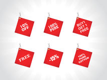Tags for buy and get free, red Stock Image