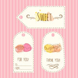 Tags with candy illustration. Vector hand drawn labels set with watercolor splashes. Sweet vector candies design. Stock Photography