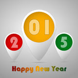 Tags 2015 card. Three tag colored green, yellow and red for celebrating of the happy new year 2015. Vector illustration Royalty Free Stock Photography
