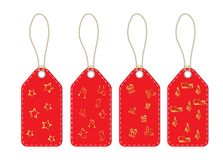 Tags cards with lanyard and Christmas symbols. Set stock illustration