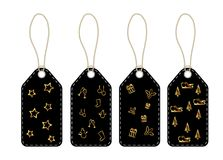 Tags cards with lanyard and Christmas symbols. Set royalty free illustration