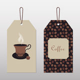 Tags with coffee and cup Stock Photo