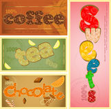 Tags - coffee, tea, chocolate Royalty Free Stock Images