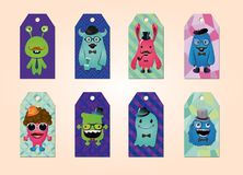 Tags collection with hipster monsters Royalty Free Stock Image