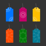 Tags with colorful ornaments. Set of six labels with ornament Stock Photo