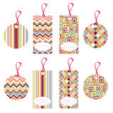 Tags, colorful seamless patterns, fabric texture Stock Photos