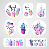 Tags crystals and lettering vector. Set of tags with crystals gems and handwritten lettering quotes. Black ink quotes and multicolored rainbow gems. Vector stock illustration