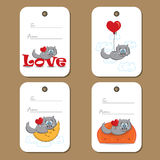 Tags with cute cat in love Royalty Free Stock Photos