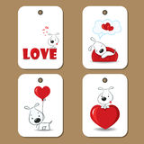 Tags with cute dogs in love. Vector illustration vector illustration