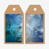Tags design on both sides, cardboard sale labels. Abstract blue polygonal background, colorful backdrop, modern stylish Stock Image