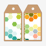 Tags design on both sides, cardboard sale labels. Abstract colorful business background, modern stylish hexagonal vector Royalty Free Stock Images