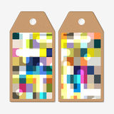 Tags design on both sides, cardboard sale labels. Abstract colorful business background, modern stylish vector texture Royalty Free Stock Photos