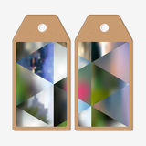 Tags design on both sides, cardboard sale labels. Abstract multicolored background, blurred nature landscapes, geometric Royalty Free Stock Photo