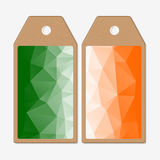 Tags design on both sides, cardboard sale labels.  Stock Photos