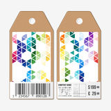 Tags design on both sides, cardboard sale labels with barcode. Abstract colorful business background, modern stylish Royalty Free Stock Photography