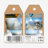 Tags design on both sides, cardboard sale labels with barcode. Abstract multicolored background, blurred nature Royalty Free Stock Image