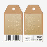 Tags design on both sides, cardboard sale labels with barcode. Abstract polygonal low poly backdrop, connecting dots and Royalty Free Stock Photography