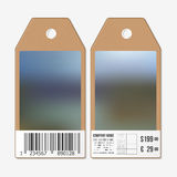 Tags design on both sides, cardboard sale labels with barcode. Blurred background. Abstract vector illustration Royalty Free Stock Photos
