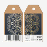 Tags design on both sides, cardboard sale labels with barcode. Golden microchip pattern, abstract template, connecting Royalty Free Stock Images