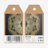 Tags design on both sides, cardboard sale labels with barcode. Golden microchip pattern, dark background, connecting Royalty Free Stock Image