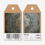 Tags design on both sides, cardboard sale labels with barcode. Golden technology pattern, dark background, connecting Stock Photos