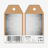Tags design on both sides, cardboard sale labels with barcode. Sacred geometry, triangle styly gray background. Abstract Royalty Free Stock Photography