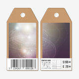 Tags design on both sides, cardboard sale labels with barcode.   Stock Photography