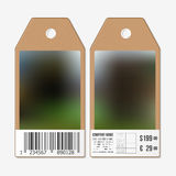 Tags design on both sides, cardboard sale labels with barcode.   Stock Images