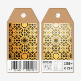 Tags design on both sides, cardboard sale labels with barcode.   Royalty Free Stock Photo