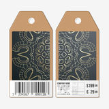 Tags design on both sides, cardboard sale labels with barcode.   Royalty Free Stock Image