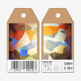 Tags design on both sides, cardboard sale labels with barcode.   Stock Image