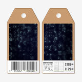 Tags design on both sides, cardboard sale labels with barcode. Virtual reality, abstract technology background, vector Stock Images