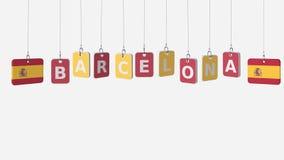 Tags, die Flaggen von SPANIEN- und Barcelona-Text kennzeichnen Wiedergabe 3d lizenzfreies stockbild